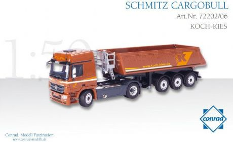 "Conrad SCHMITZ CARGOBULL Tipper trailer on MERCEDES-BENZ Actros ""KOCH KIES"""